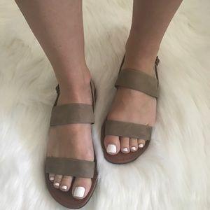 Shoes - Vegan Suede Slingback Sandal in Stone